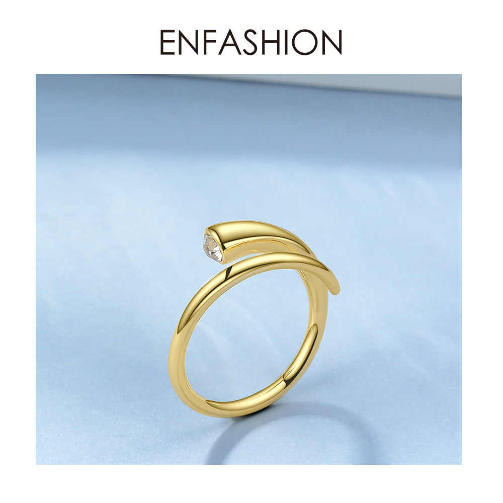 ENFASHION Curve Crystal Opening Ring Gold Color Winding Shape Rings For Women Accessories Finger Fashion Jewelry Gifts R194010