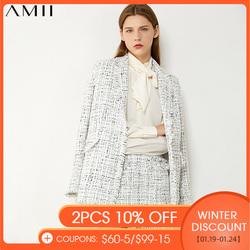 AMII Minimalism Autumn Winter Fashion Temperament Plaid Tweed Jacket High Waist Aline Mini Skirt Suit Female  12070344