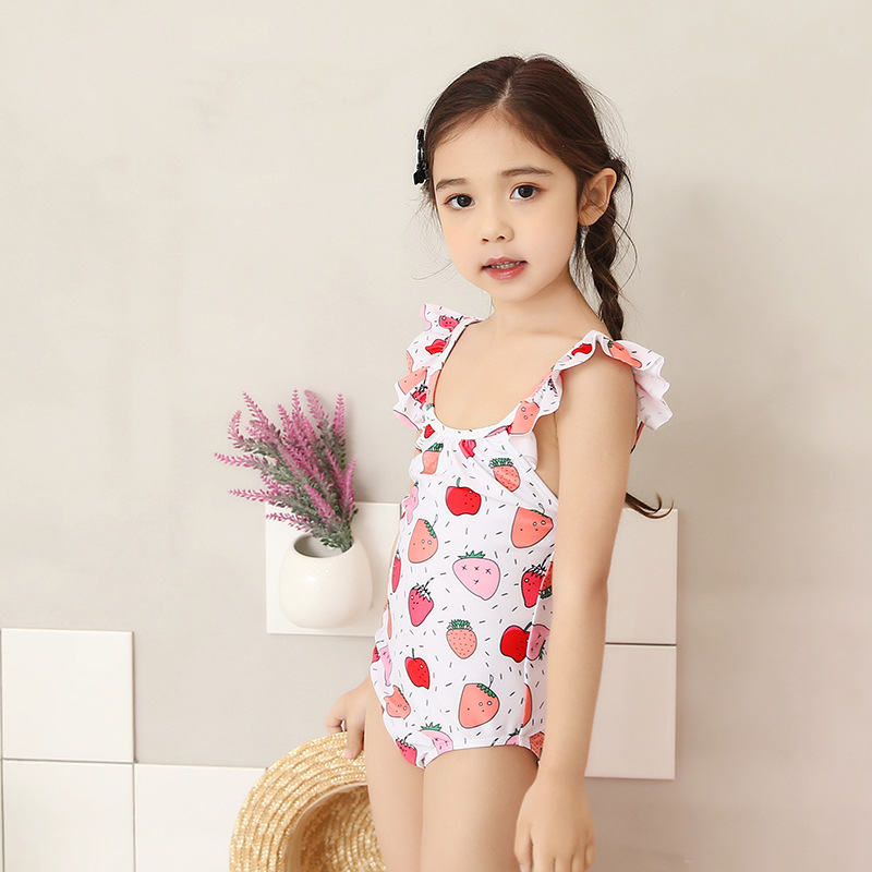 2018 New Style KID'S Swimwear Baby Girls One-piece Hot Springs Bathing Suit Cute Strawberry GIRL'S Swimsuit