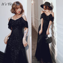 Женское вечернее платье it's yiiya Черное длинное на бретельках
