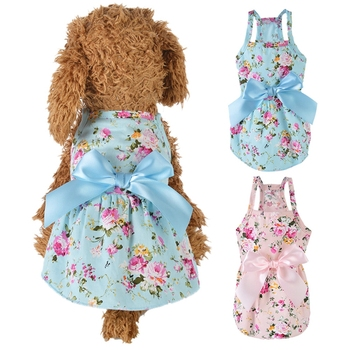 Pet Spring Summer Cotton Clothes For Dog Girls, Small Medium Dog Cute Princess Skirt For Chihuahua Yorkie image