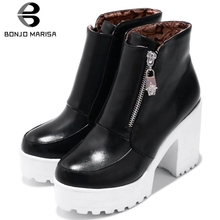 BONJOMARISA New Big Size 33-43 Fashion Zipper Booties Ladies High Platform Ankle Boots Women 2019 Autumn High Heels Shoes Woman bonjomarisa new women s genuine leather square high heels metal decoration shoes woman fashion spring pumps big size 33 43