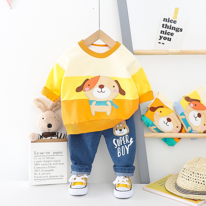 HYLKIDHUOSE Spring Baby Girls Boys Clothing Sets 2020 Toddler Infant Newborn Clothes Cartoon Dog T Shirt Jeans Children Clothing