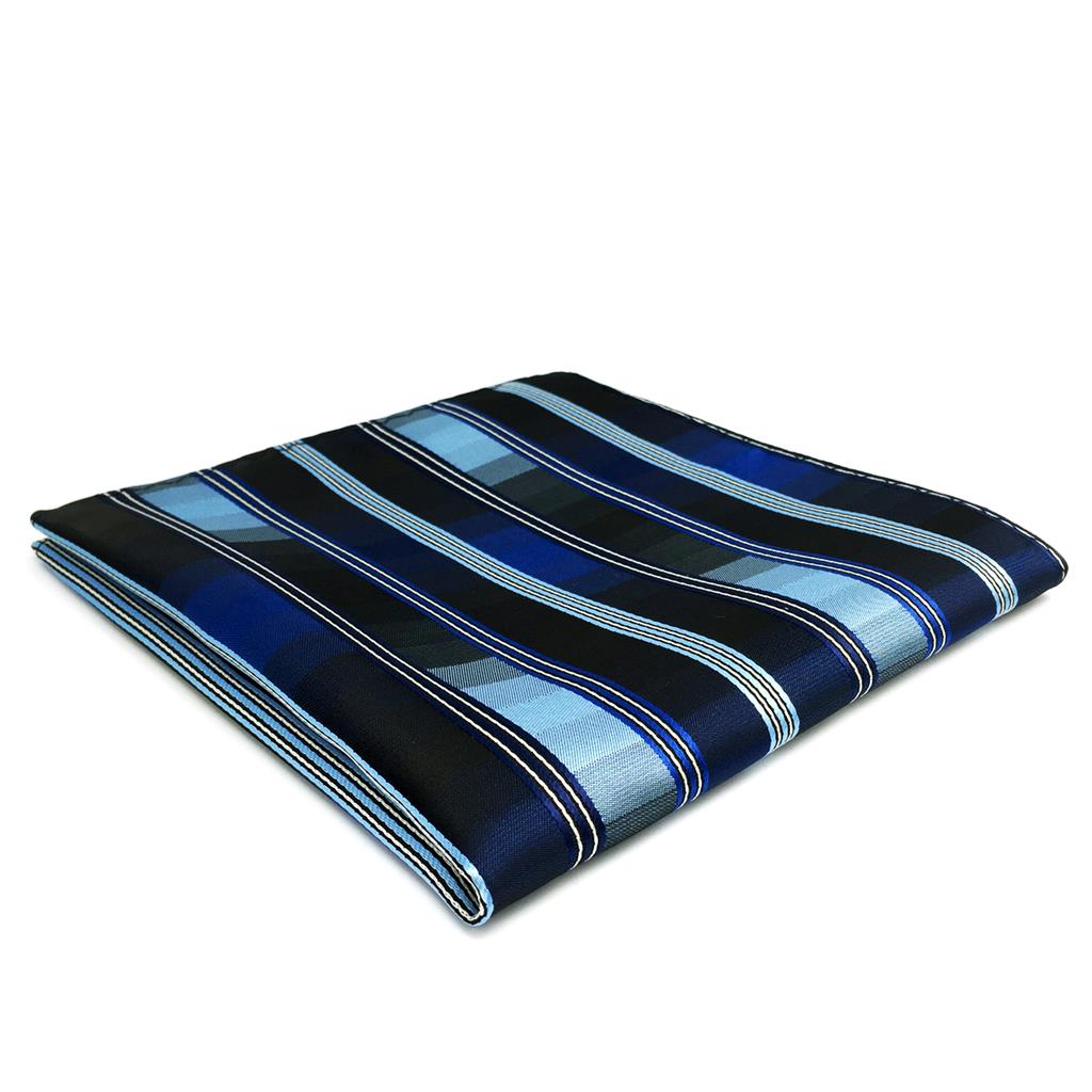 FH31 Blue Striped Pocket Square Business Handkerchief Party Accessory Silk