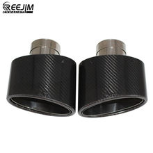2 PCS Oval Slanted Carbon Fiber Exhaust tips Tailpipe muffler tip Chrome pipe Width 150mm Stainless nozzle car styling(China)