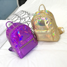 2019 Backpack New Women Backpack Mini Travel Bags Silver Laser Backpack Women Girls Shoulder Bag PU Leather Holographic Backpack