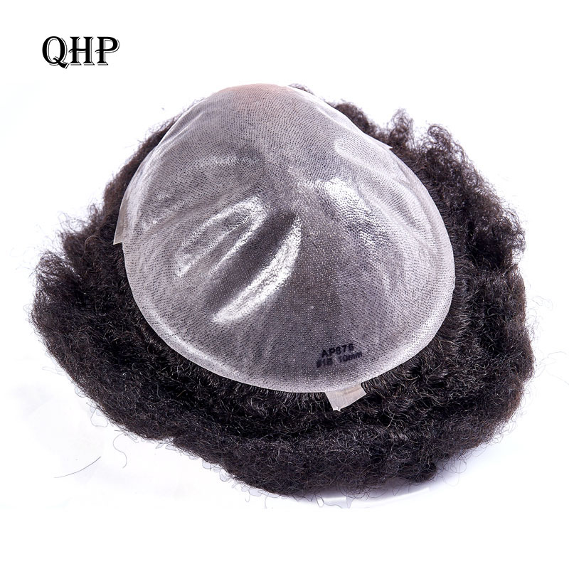 Black Mens Toupee <font><b>Wig</b></font> Thin Skin 0.12mm Afro Kinky Curly Replacement System Handmade Hairpieces Indian Human Remy Hair image