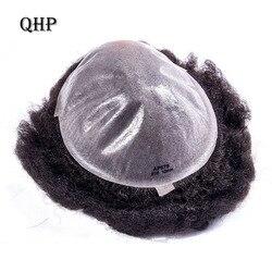 Peluquín negro para hombre Peluca de piel fina 0,12mm Afro rizado sistema de reemplazo peluquines hechos a mano pelo humano indio Remy
