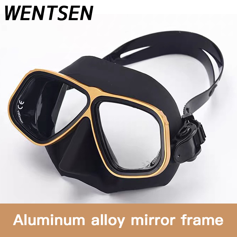 NEW Color Alloy frame free diving goggles scuba full face mask wet tube kit Snorkeling equipment Ultra low volume Free-dive