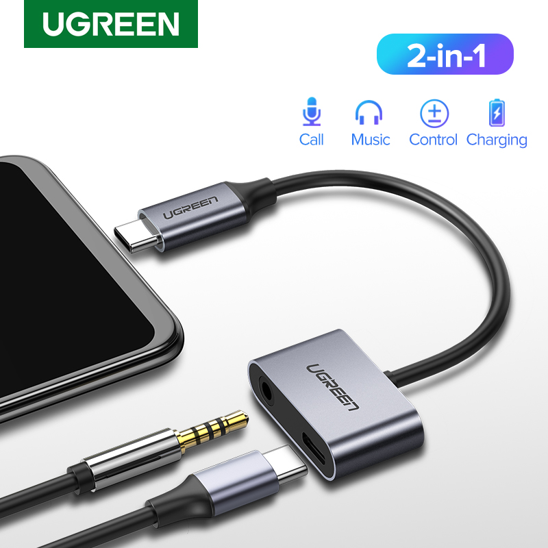 Ugreen USB C To Jack 3.5 Type C Cable Adapter USB Type C 3.5mm AUX Earphone Converter For Huawei P20 Pro Xiaomi Mi 6 8 9 Se Note