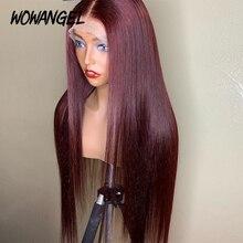 Прямые бордовые парики 99J 13x6 на сетке спереди, красные парики из человеческих волос для черных женщин, цветные парики на сетке спереди, предв...