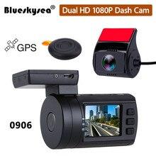Blueskysea מיני 0906 כפול עדשת רכב דאש מצלמת HD 1080P סופר קבלים רכב DVR מקליט Sony IMX322 מצלמה GPS CPL אפשרות Hardwire