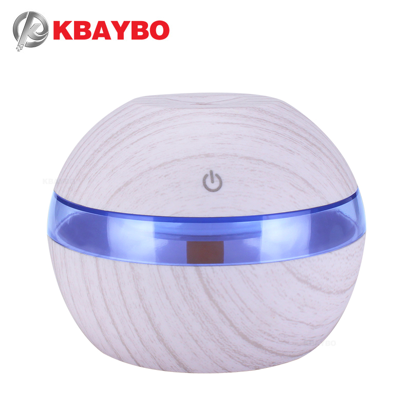 300ml White Wood Grain Aromatherapy Electric Sprayer Ultrasonic Air Humidifier Essential Oil Diffuser With 7 Color LED Lights