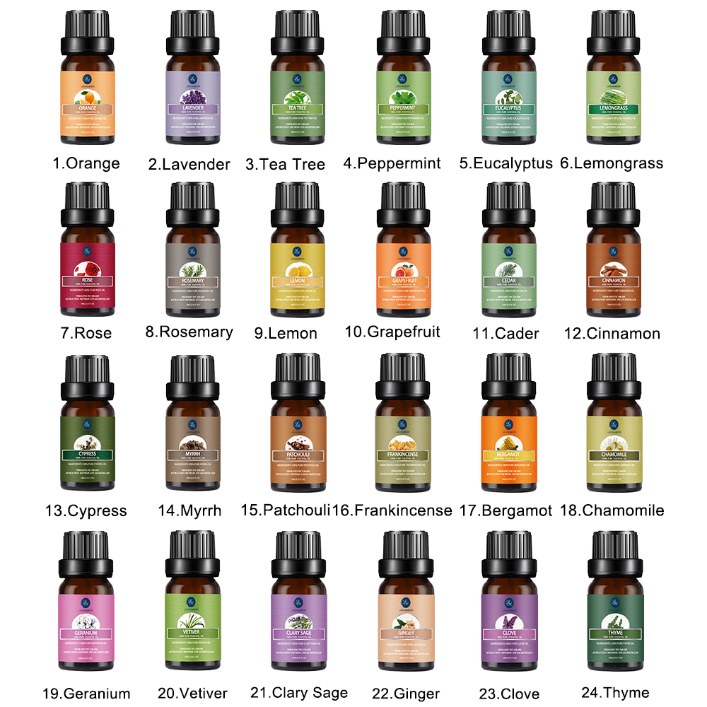 Lagunamoon Any 6pcs/Gift Set With Box  10ML Pure Essential Oils Humidifier Aromatherapy Tea Tree Rose Sandalwood Mint Oil