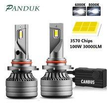 PANDUK 2 Pièces H4 LED H7 100W 30000LM Canbus H1 H8 H9 H11 LED 9005 HB3 9006 HB4 Voiture LUMIÈRE LED Phare Turbo Brouillard Lampe 6000K 12V