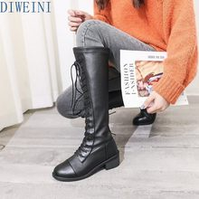 DIWEINI 2019 New Ankle boots for women black large size fleeces motorcycle boots increase comfortable leather boots women winter(China)