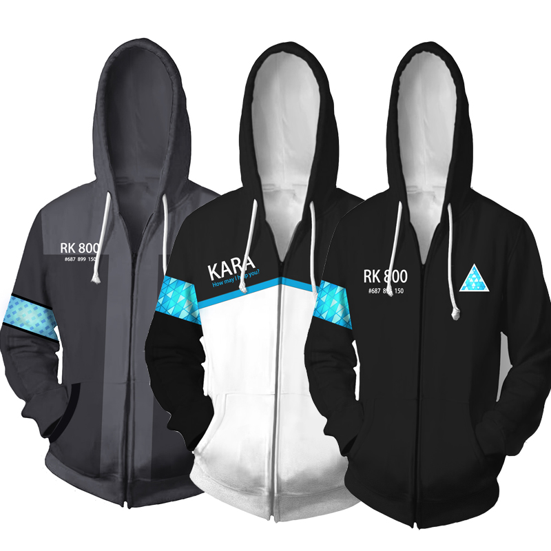 Game Detroit Become Human RK800 Connor Cosplay Zip Up Hooded Unisex Jacket Sweatshirt Hoody Streetwear Coat 3D Printed Hoodie