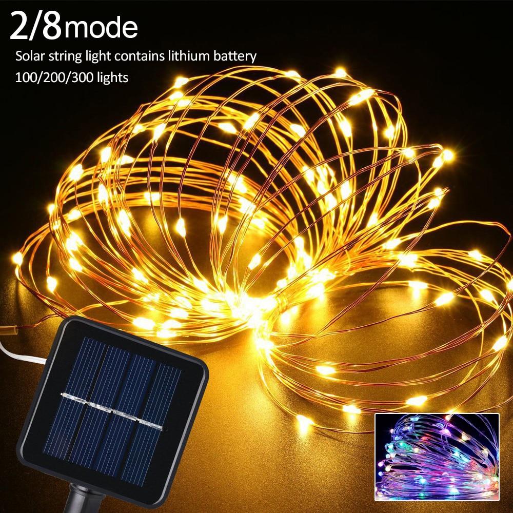 10M/20M LED Outdoor Solar String Light Fairy String Copper Wire Lamp Solar Powered String Light for Holiday Wedding Garden Decor
