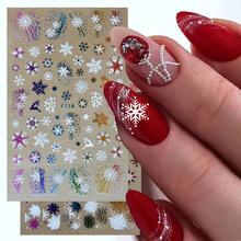 Holograficzne naklejki śnieżynka kalkomanie do paznokci suwak 3D odblaskowe brokat zimowy liść łosia kolorowe boże narodzenie Manicure Decor GLF712 tanie i dobre opinie Full Beauty Jedna jednostka CN (pochodzenie) 12x7 5cm GLF712-719 Naklejka naklejka Plastic 1pcs New Year nails Christmas Nails