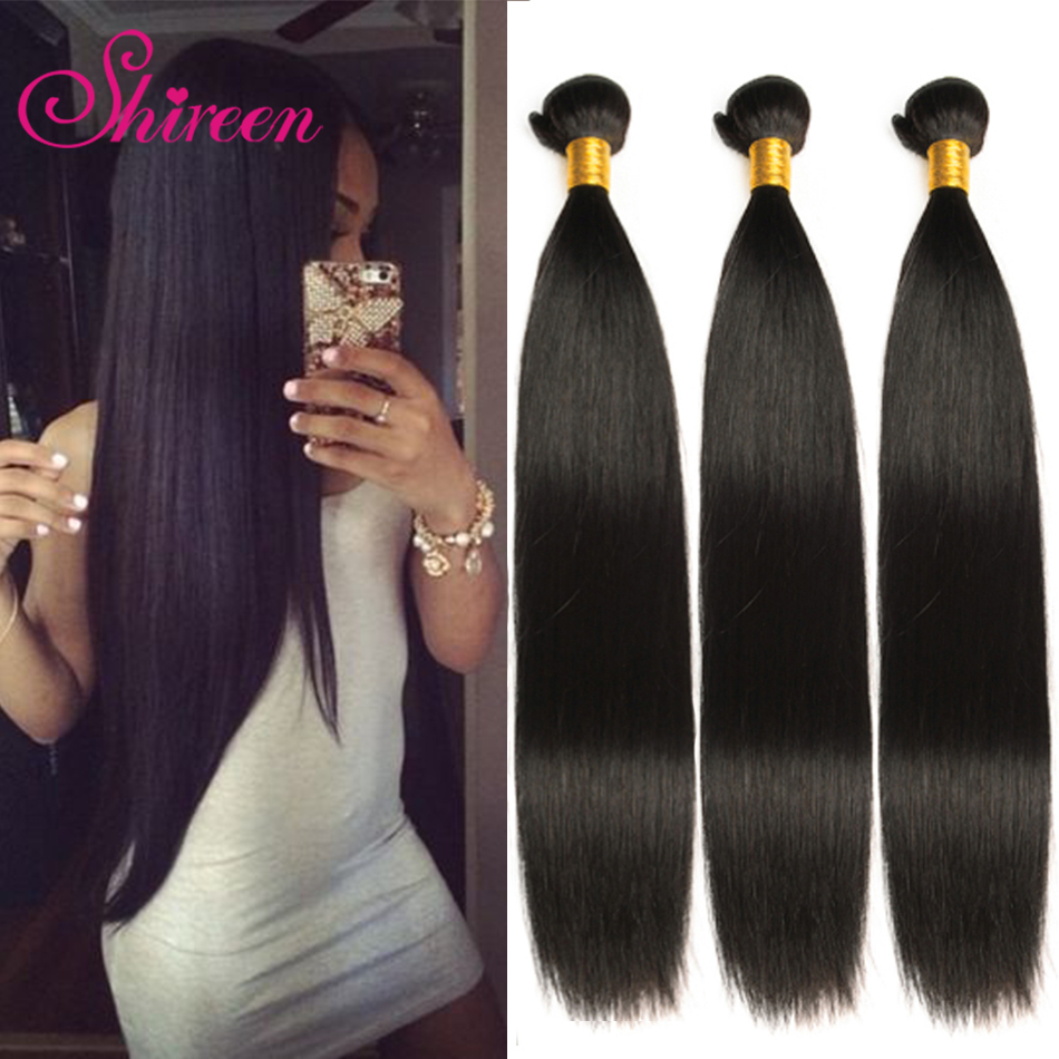 Shireen Peruvian Straight Hair 4 Bundles Remy Human Hair Extensions 10-28inches Natural Color Hair Weave Bundles Hair Weaving