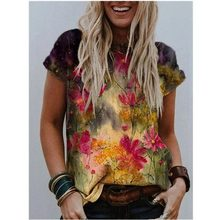 Tie Dye 3D Floral Print Women T Shirts Casual Short Sleeve Loose Plus Size Tops Fashion Street Ladies V-Neck Summer Tee 2021 New