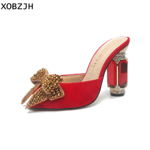 Womens Summer Butterfly Shoes Luxury Brand Crystal Red Sandals Wedding 2019 Ladies Stripper Open Toe High Heels Woman US11