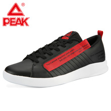 PEAK Men Casual Skateboarding Shoes Lightweight Classic Culture Walking Leather Upper Letter Printing Life Style Sneakers