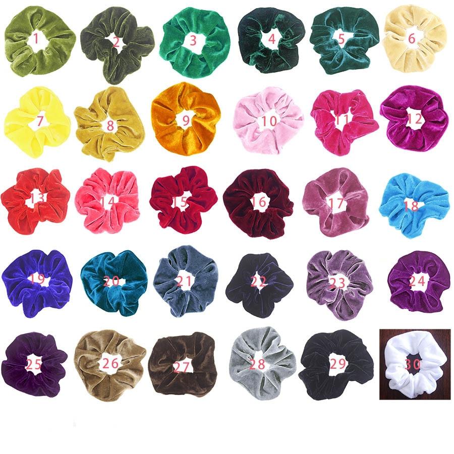 30 Colors Vintage Hair Scrunchies Stretchy Velvet Scrunchie Pack Women Elastic Hair Bands Girl Headwear Plain Rubber Hair Ties