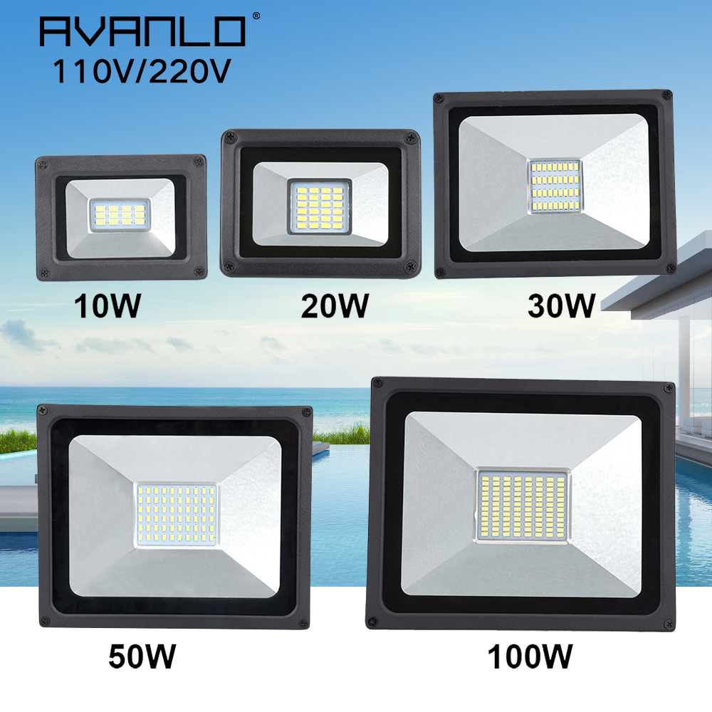 رقيقة جدا 10 واط 20 واط 30 واط 50 واط 100 واط LED كشاف ضوء 110 فولت/220 فولت الكاشف الأضواء IP65 مقاوم للماء في الهواء الطلق مصباح الحديقة