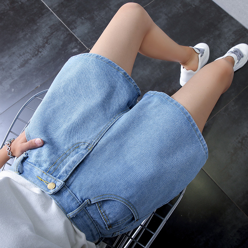 2019 Summer New Style High-waisted Slimming Women's Wide-Leg A- Line Denim Shorts Women's Loose-Fit WOMEN'S Pants