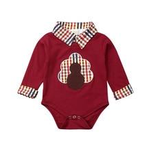 Одежда для новорожденных одежда для малышей мальчиков и девочек боди с длинными рукавами на осень, День благодарения с длинными рукавами бордового цвета комбинезон наряд на возраст от 0 до 18 месяцев