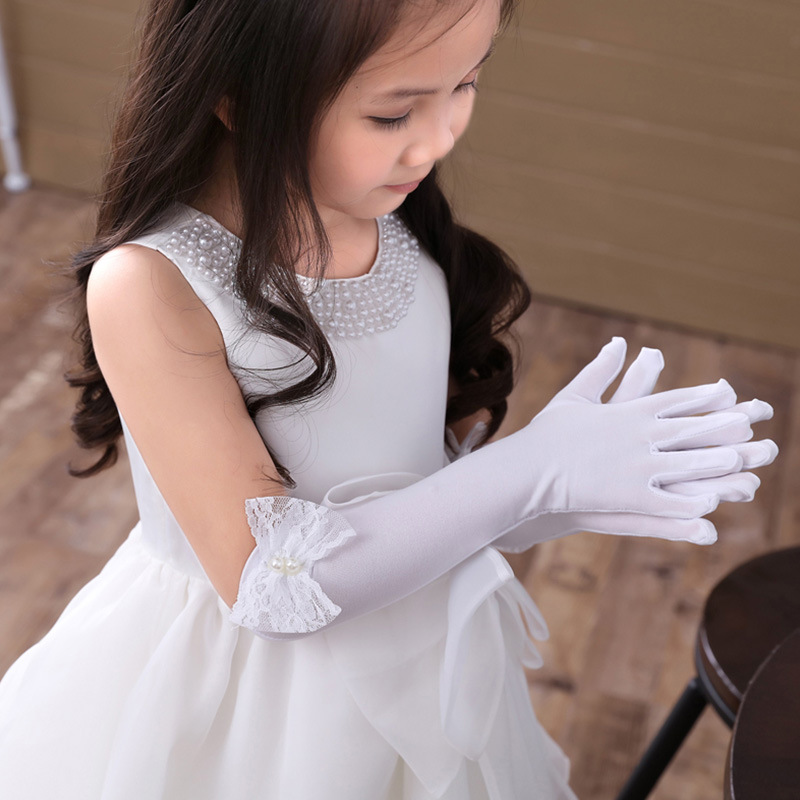 Princess Flower Girl Long Wedding Gloves Evening Party Kids Glove Birthday Pearl Lace Bowknot Performance Gloves For Child