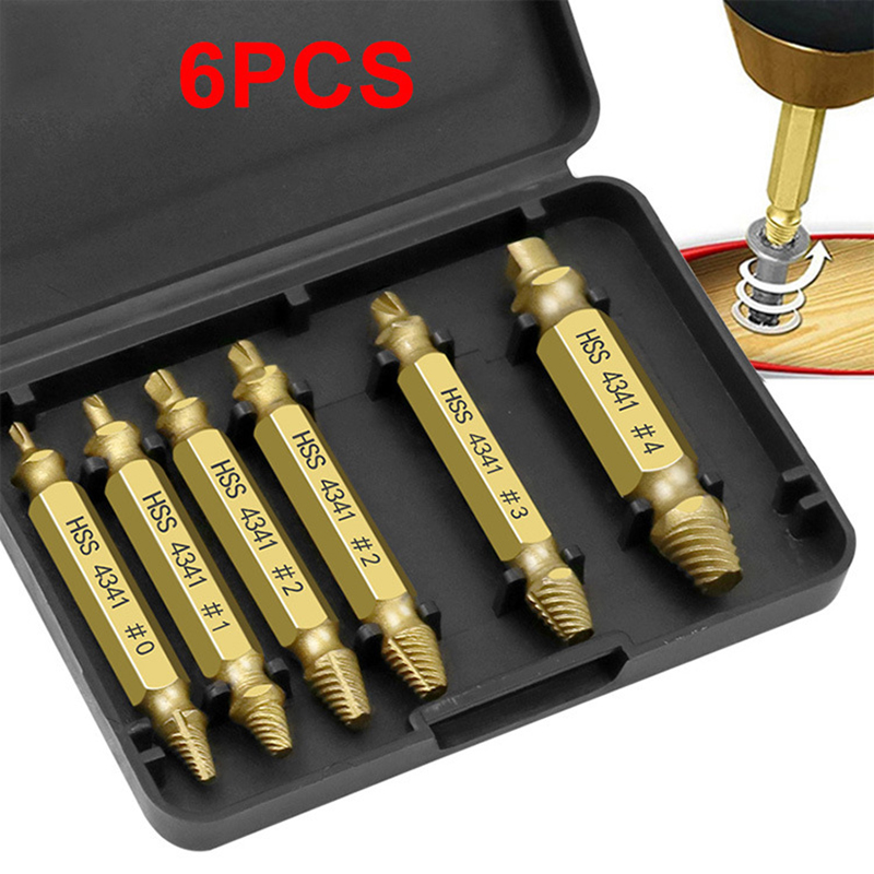 6pcs Damaged Screw Extractor Drill Bit Set Easily Take Out Broken Screw Bolt Remover Stripped Screws Extractor Demolition Tools