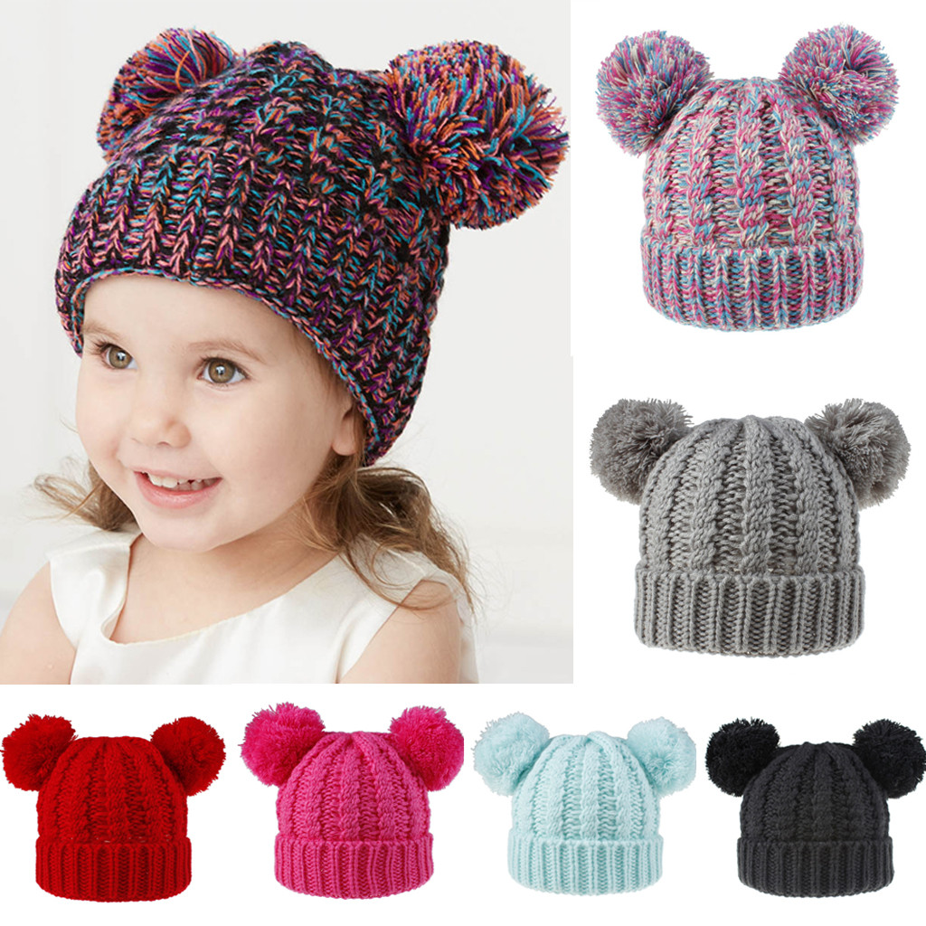 Baby Hat Beanie Cap Pompom Winter Boy Girl Hat Kids Warm Fur Ski Knitted Toddler