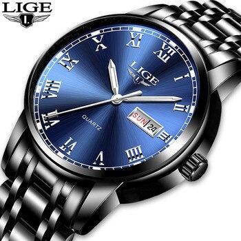 2019 moda LIGE saatler spor çelik saat en kaliteli askeri erkek erkek lüks hediye bilek kuvars saatler Relogio Masculino