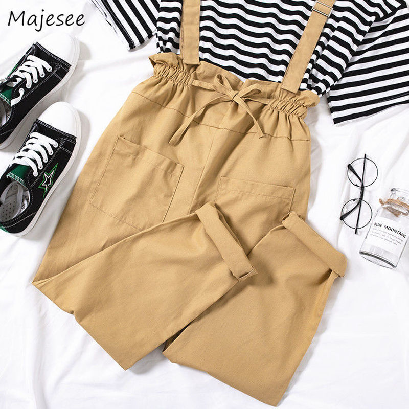 Jumpsuits Women Leisure Loose Solid Color Simple Students Pockets High Waist Korean Style Straight Womens Soft High Quality New