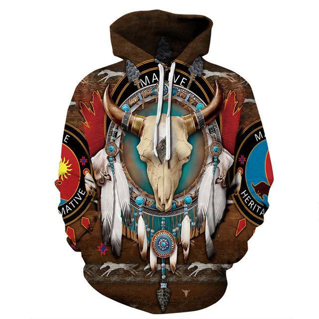 Indian Bohemian European and American Fashion Lovers  Hoodie Men's Loose Large Size 3D Printed Men's Hoodie Goes With Everything 2