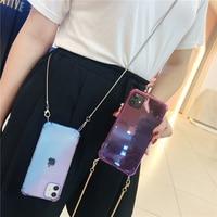 Funda transparente arcoíris aurora para iPhone 11 pro max xr x xs 6 7 8plus SE, carcasa trasera suave con cadena de Metal dorada cruzada