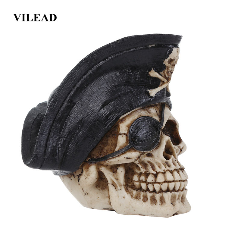 VILEAD Size 1:1 Model Pirate Skull Garden Statues Sculptures Personalized Fashion Ornament Halloween Decoration Birthday Gift