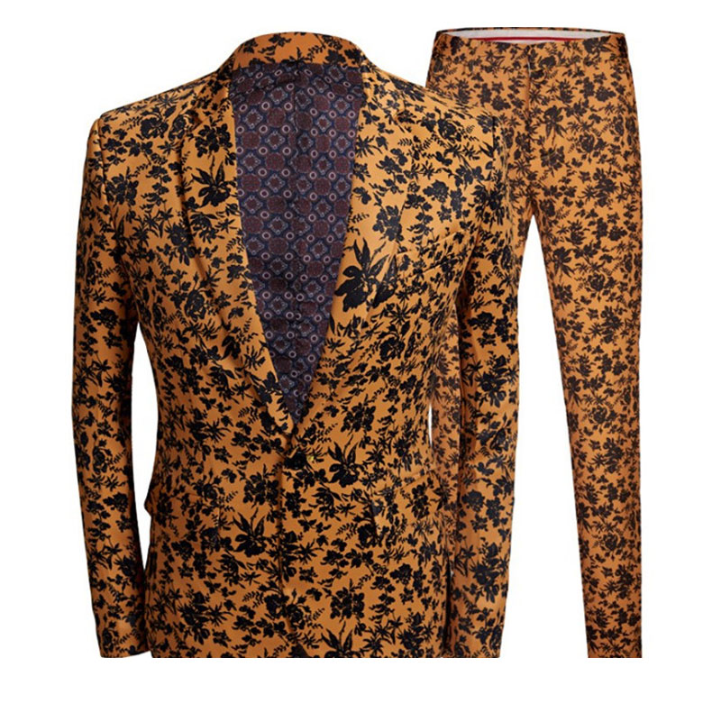 Yellow Men Print Suit Blazer Set 2020 Spring New Slim Fit Casual Coat Banquet Activity Jacket Wedding Groom Costume Outfit 2 Pcs