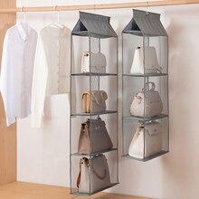 1Pcs Clear Dust-proof Closet Rack Bag Handbag Hanging Organizer 2/3/4 Pockets Hanging Purse Handbag Tote Bag