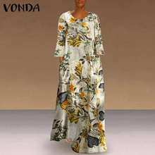 Women' Dress 2021 Vintage Pockets Floral Print Kaftan Dress Long Sleeve Robe VONDA Casual Sundress Plus Size Vestido S-5XL