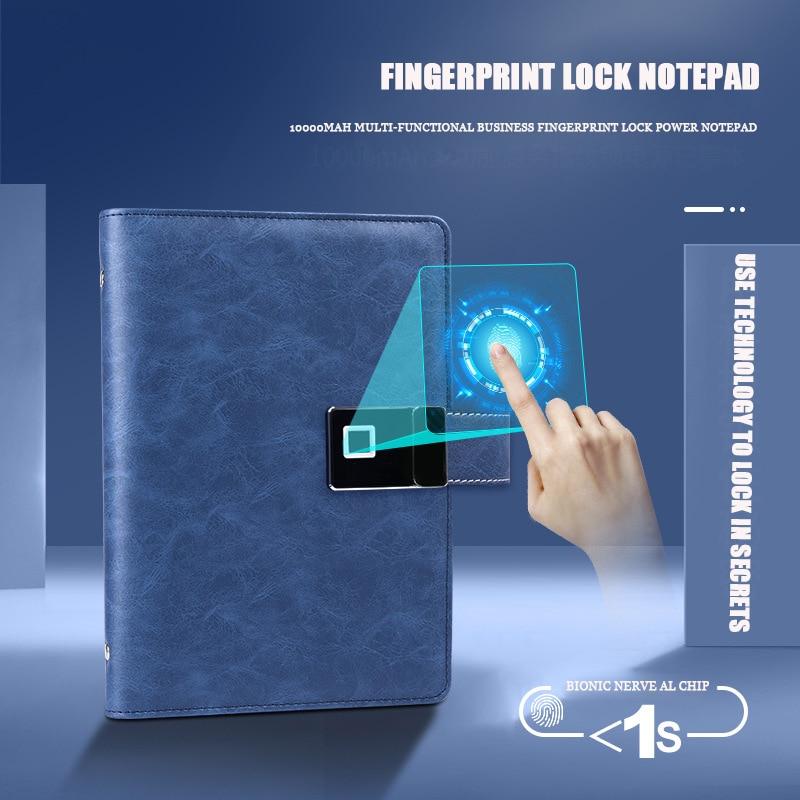 Smart fingerprint Unlocking Charging notebook A5 Business multifunctional notepad with usb flash drive gift customizable LOGO