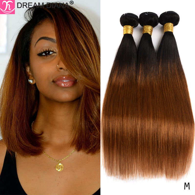 DreamDiana Two Toned Hair Bundles Ombre Straight Hair 1B 27 30 99J Colored Remy Human Hair Ombre Brazilian Hair Weave Bundles M