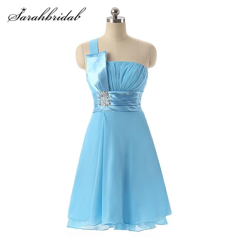 Sweety mousseline de soie courte Mini robe de retour pli froncé Cocktail robe de bal cristal une épaule bleu ciel pas cher robes SLD017