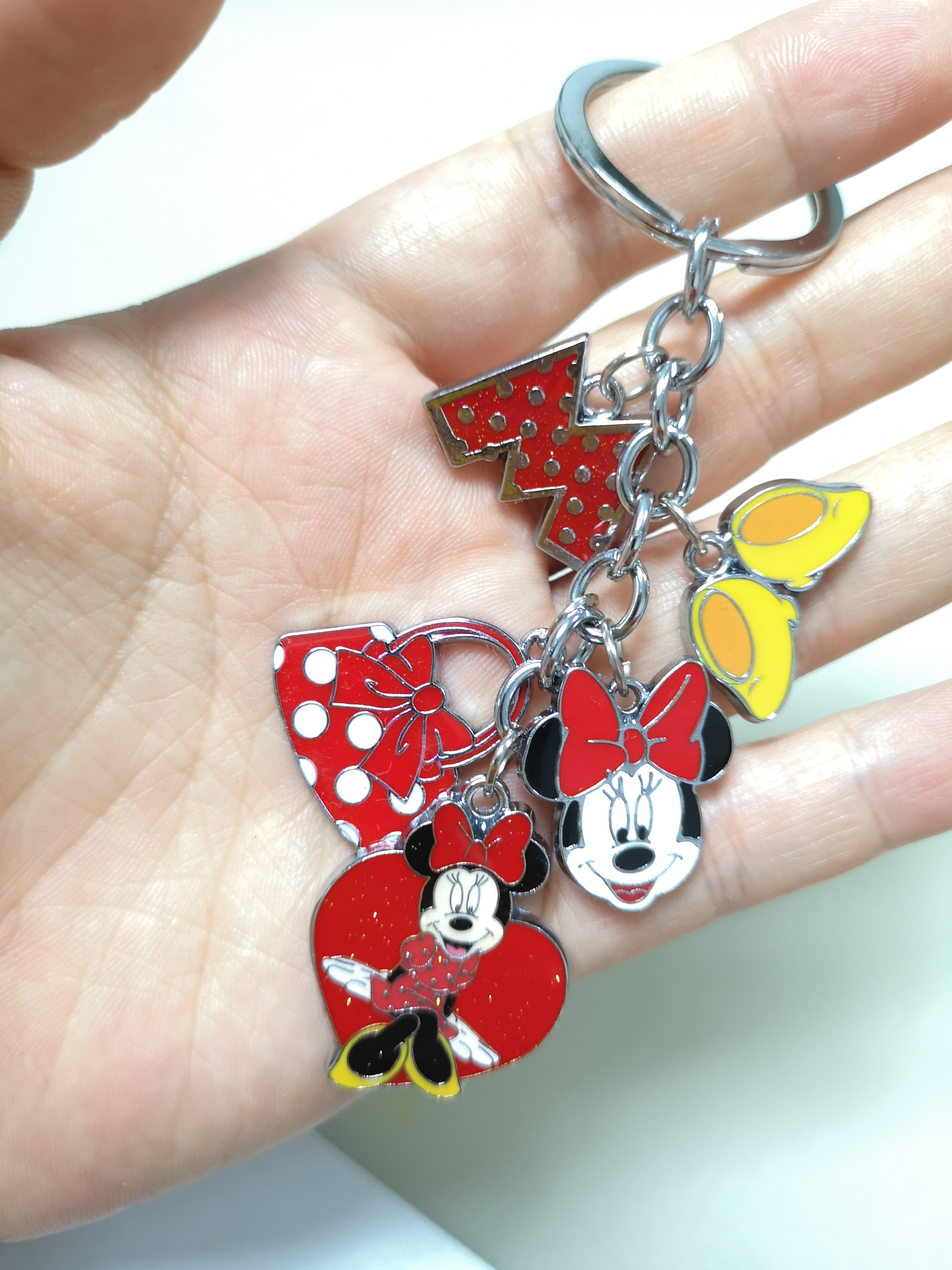 New 1 Set Cartoon Red Love Heart Minnie Head Cute Keychain Jewelry Accessories Key Chains Pendant Gifts Favors
