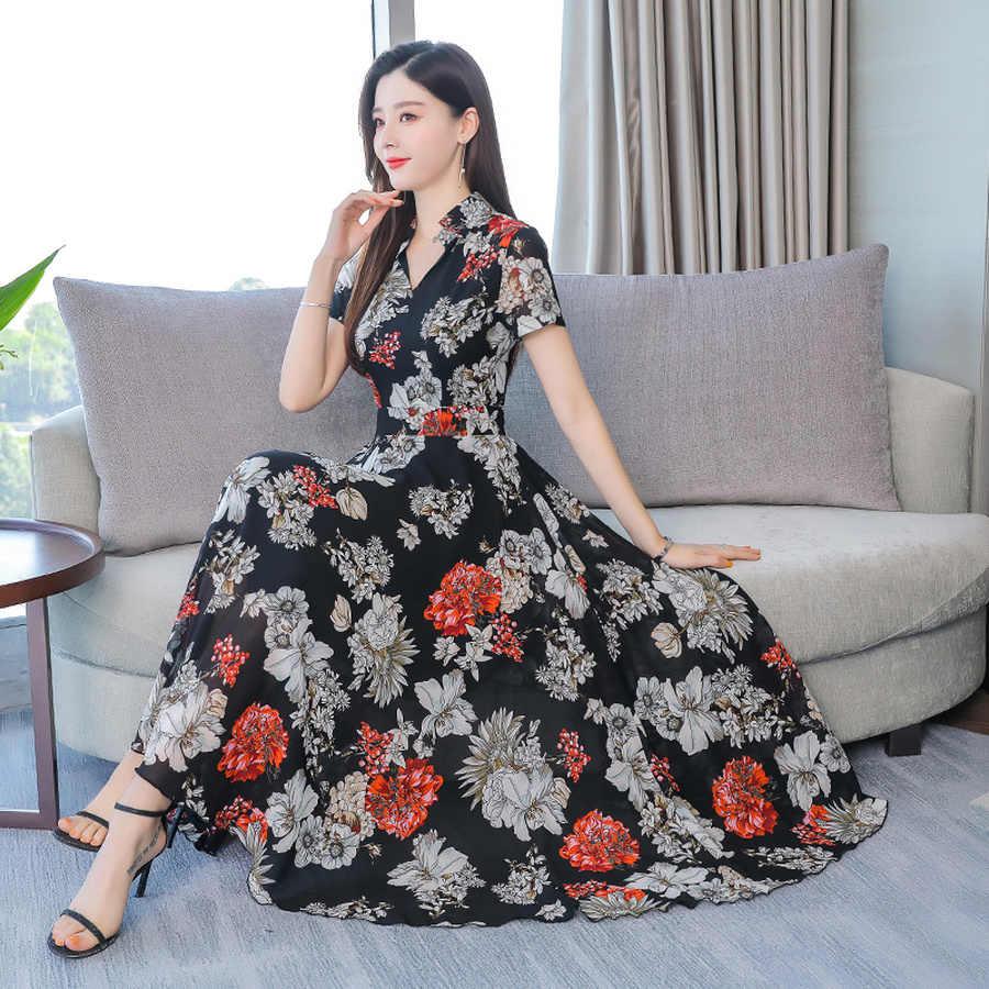 2019 винтажные черные шифоновые богемные миди платья лето 3XL плюс размер пляжный Макси Сарафан с принтом женское обтягивающее элегантное на выход Vestidos