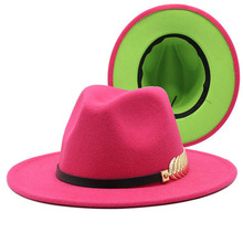 Women Hats Band Fedora Winter Luxury-Designed Patchwork Autumn Two-Different-Colors Belt