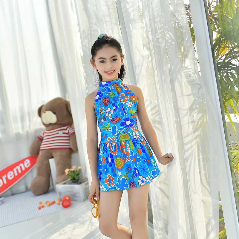 18 New Style Europe And America Hot Sales One-piece Swimming Suit Sweet Hipster Backless Triangular Hot Springs Children Girls K