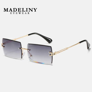 Rectangle Sunglasses Square Rimless Traveling-Style UV400 Trendy Shades Small Women